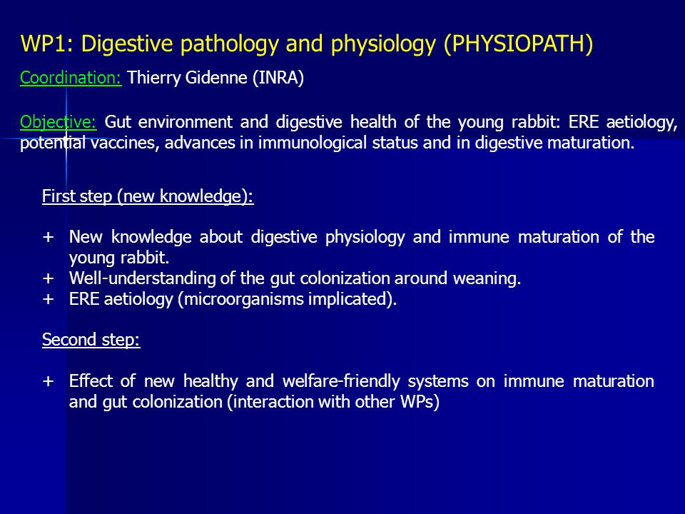 WP1: Digestive pathology and physiology (PHYSIOPATH) Coordination: Thierry Gidenne (INRA) Objective: Gut environment and digestive health of the young