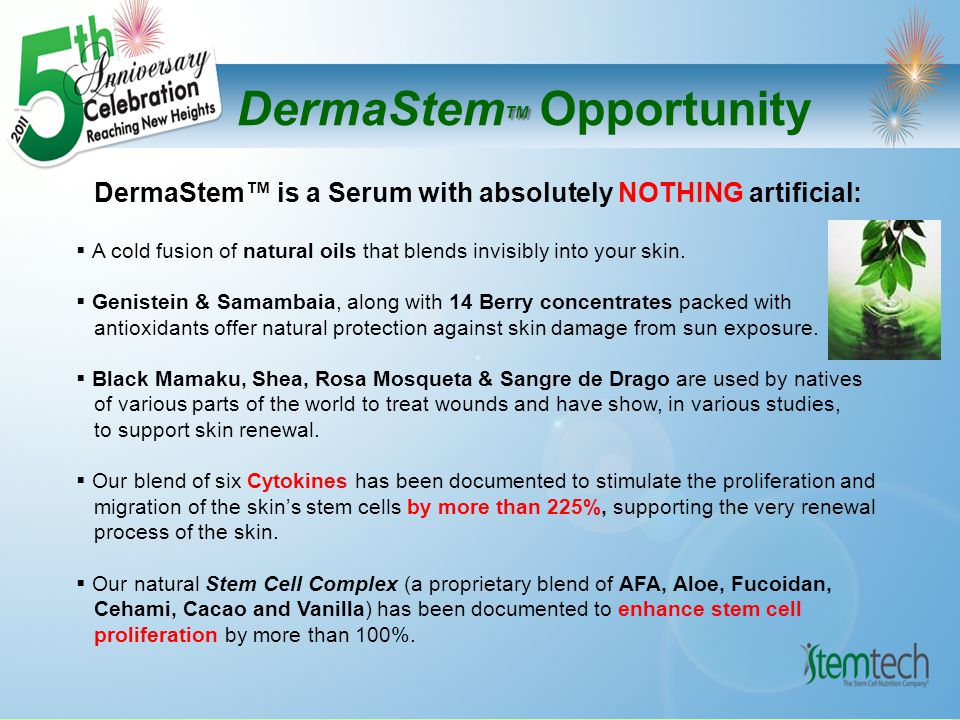 TM DermaStem TM Opportunity Inner Wellness & Outer Vibrance DermaStem™ is a Natural Extension of Stem Cell Nutrition that Supports Daily Renewal - both Inside and Out Experience The Results!!