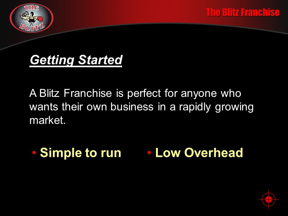 The Blitz Franchise Company History Master License agreements are now being arranged in the U.K., Australia, Latin America and Malaysia.