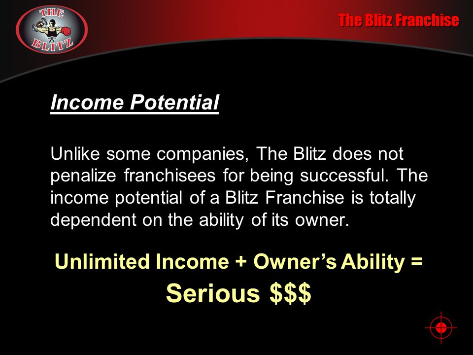 The Blitz Franchise Getting Started A very reasonable investment buys franchise rights, all the Blitz equipment and complete training. Own a Proven Bu