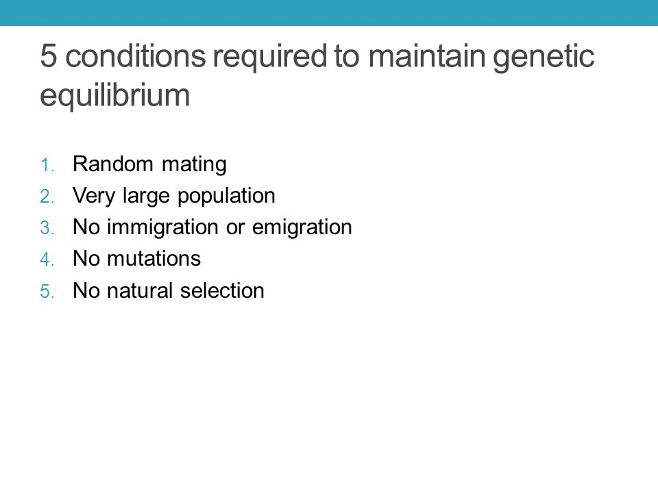 5 conditions required to maintain genetic equilibrium 1.