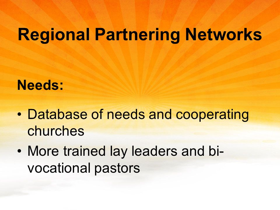Regional Partnering Networks Needs: Database of needs and cooperating churches More trained lay leaders and bi- vocational pastors