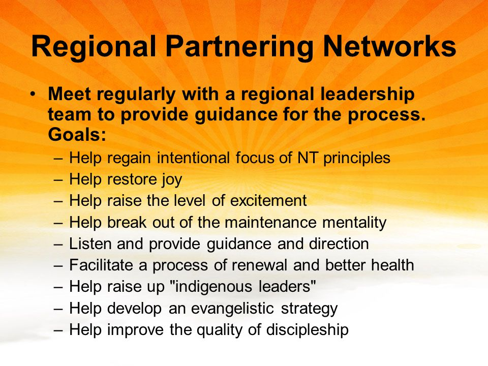 Regional Partnering Networks Meet regularly with a regional leadership team to provide guidance for the process.