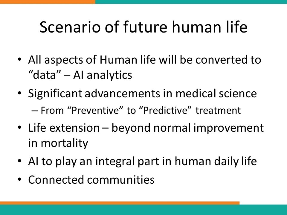 Scenario of future human life All aspects of Human life will be converted to data – AI analytics Significant advancements in medical science – From Preventive to Predictive treatment Life extension – beyond normal improvement in mortality AI to play an integral part in human daily life Connected communities