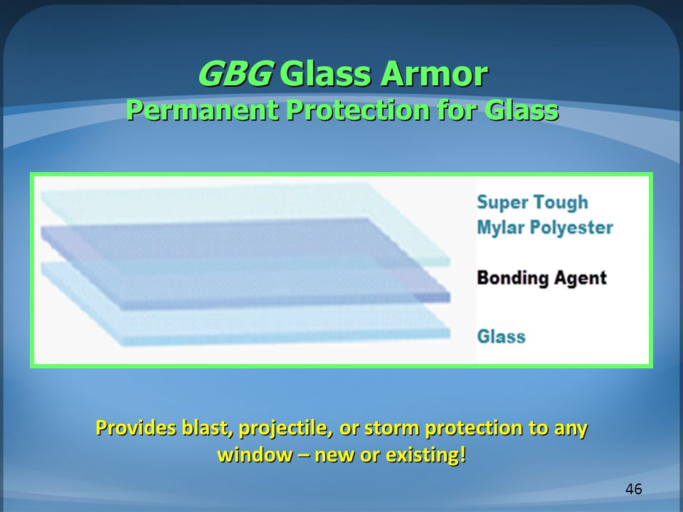 GBG Glass Armor Permanent Protection for Glass 46 Provides blast, projectile, or storm protection to any window – new or existing!