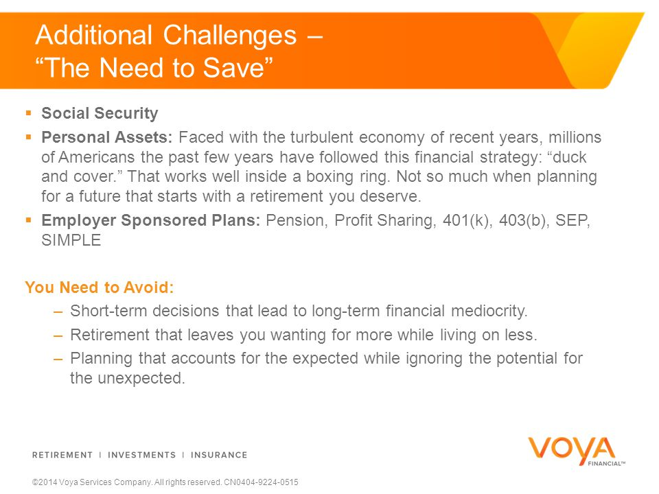 ©2014 Voya Services Company. All rights reserved. CN0404-9224-0515  Social Security  Personal Assets: Faced with the turbulent economy of recent yea