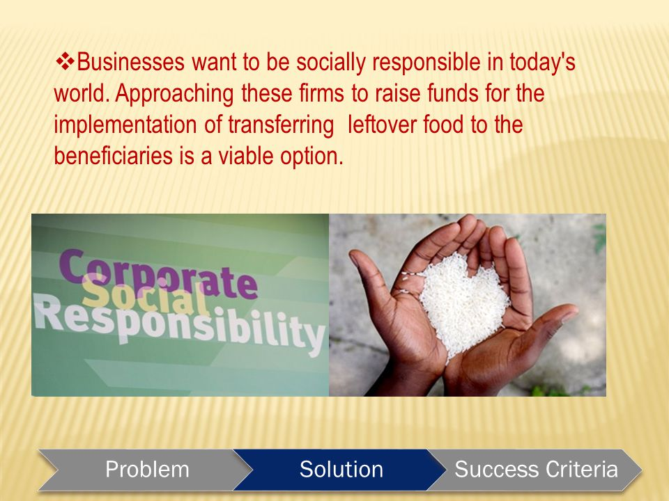  Businesses want to be socially responsible in today s world.
