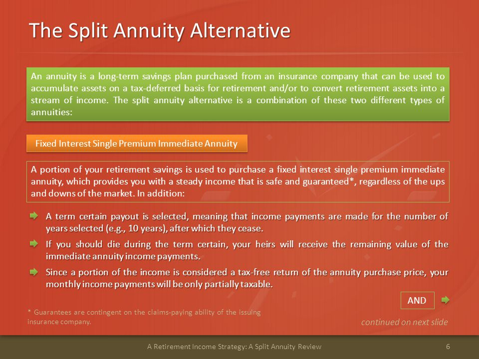 The Split Annuity Alternative 7A Retirement Income Strategy: A Split Annuity Review The single premium will grow at a guaranteed* interest rate, which may be higher in the first year and then reduce to a lower rate in the second and subsequent years.