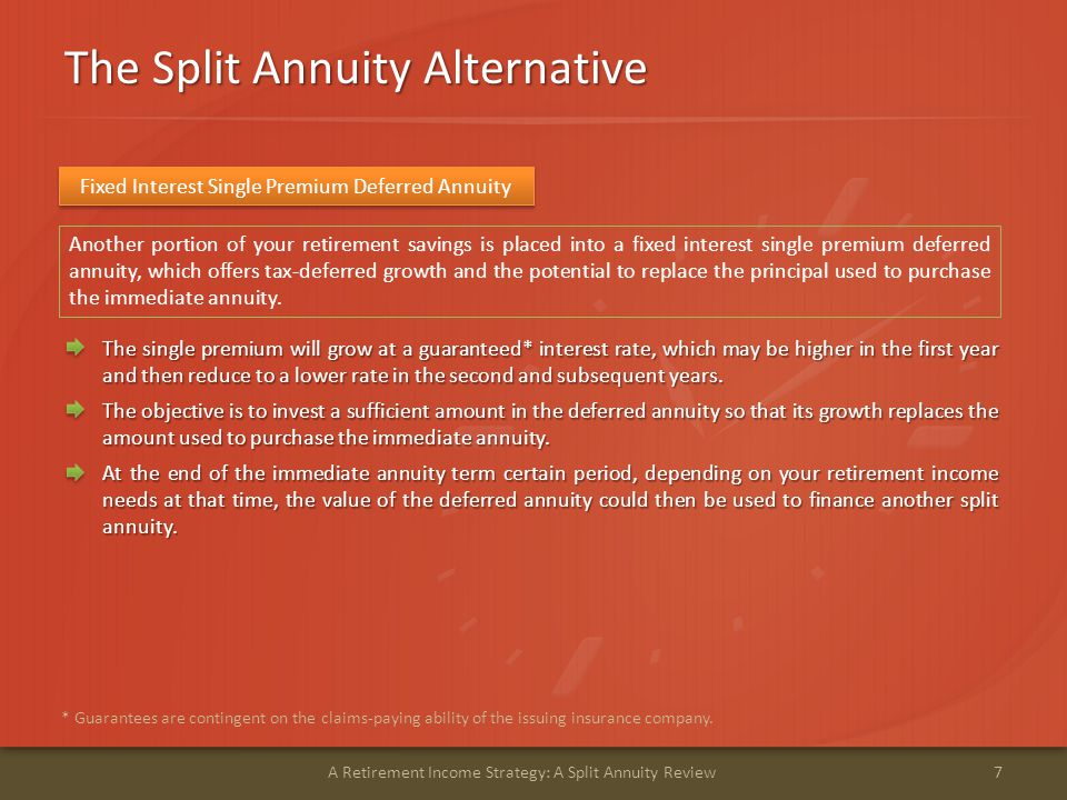 A Hypothetical Split Annuity Example 8A Retirement Income Strategy: A Split Annuity Review * This is a hypothetical illustration only and is not indicative of any particular bank certificate of deposit or performance.