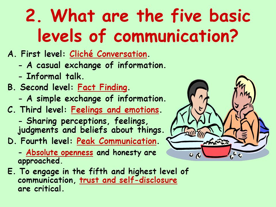 2. What are the five basic levels of communication? A. First level: Cliché Conversation. - A casual exchange of information. - Informal talk. B. Secon