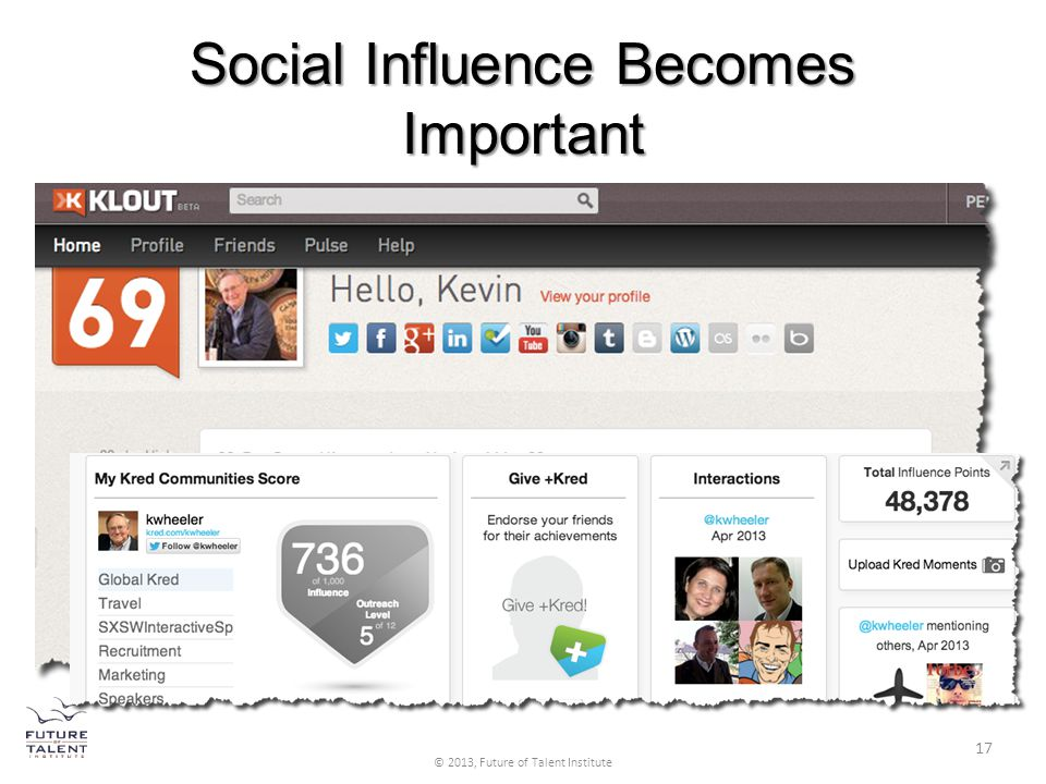 Social Influence Becomes Important 17 © 2013, Future of Talent Institute 17