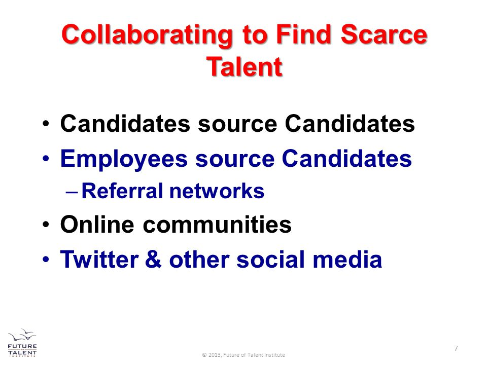 Collaborating to Find Scarce Talent Candidates source Candidates Employees source Candidates –Referral networks Online communities Twitter & other soc
