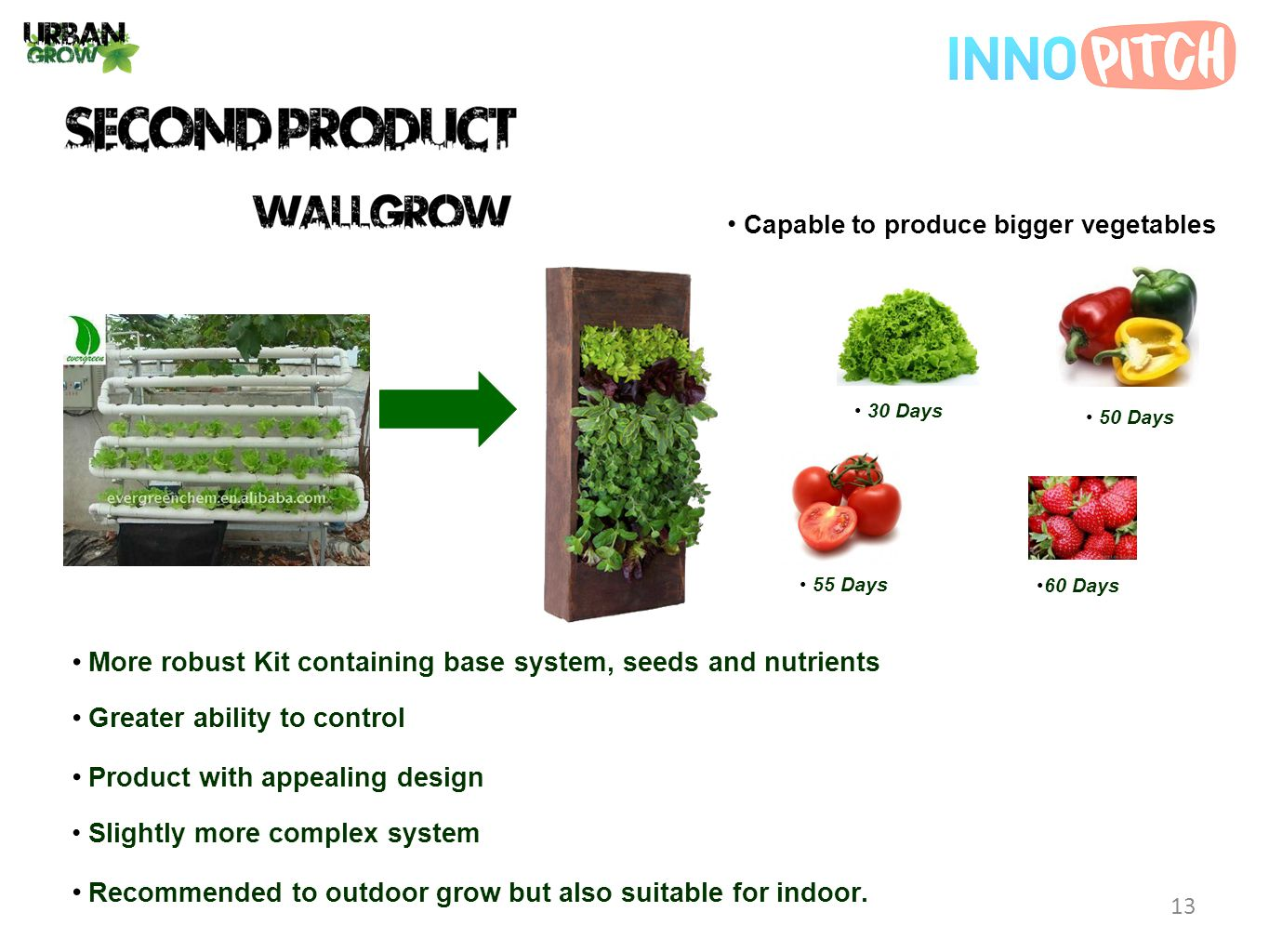 Slightly more complex system Capable to produce bigger vegetables Product with appealing design More robust Kit containing base system, seeds and nutrients Greater ability to control Recommended to outdoor grow but also suitable for indoor.