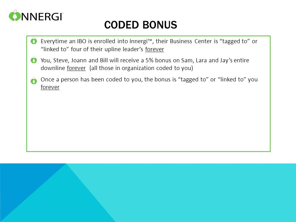"""CODED BONUS Everytime an IBO is enrolled into Innergi™, their Business Center is """"tagged to"""" or """"linked to"""" four of their upline leader's forever You,"""