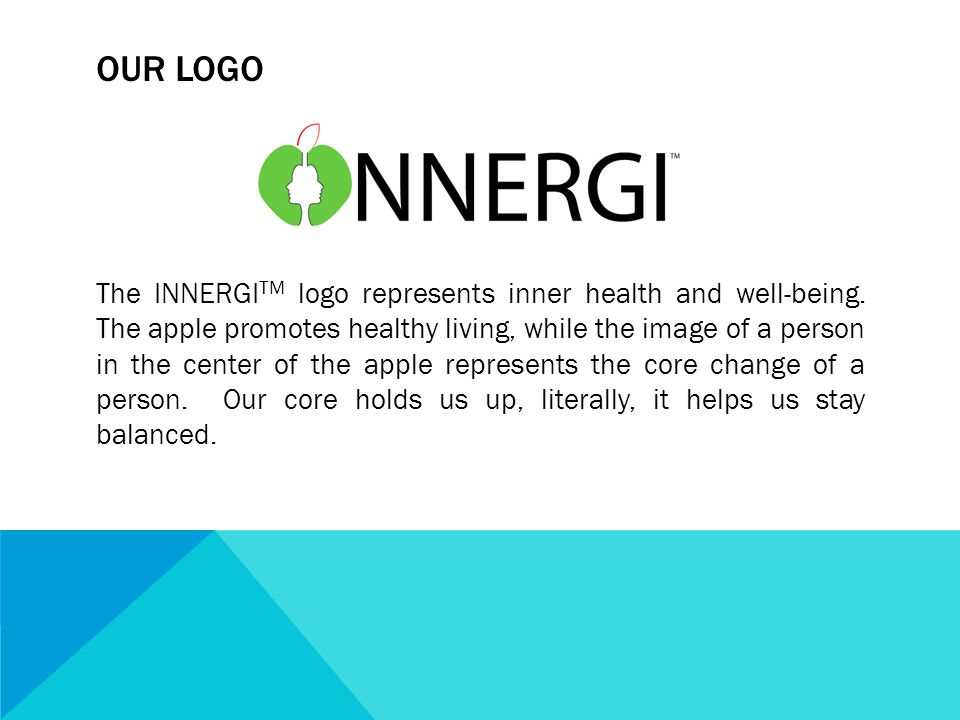 OUR LOGO The INNERGI TM logo represents inner health and well-being. The apple promotes healthy living, while the image of a person in the center of t