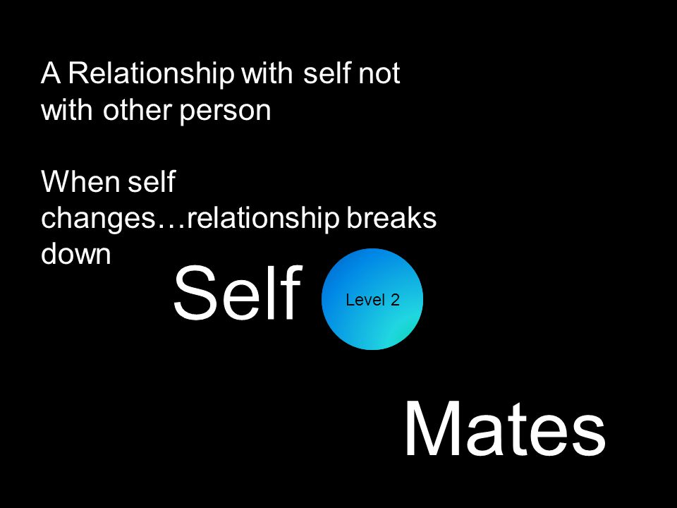 A Relationship with self not with other person When self changes…relationship breaks down Level 2 Mates
