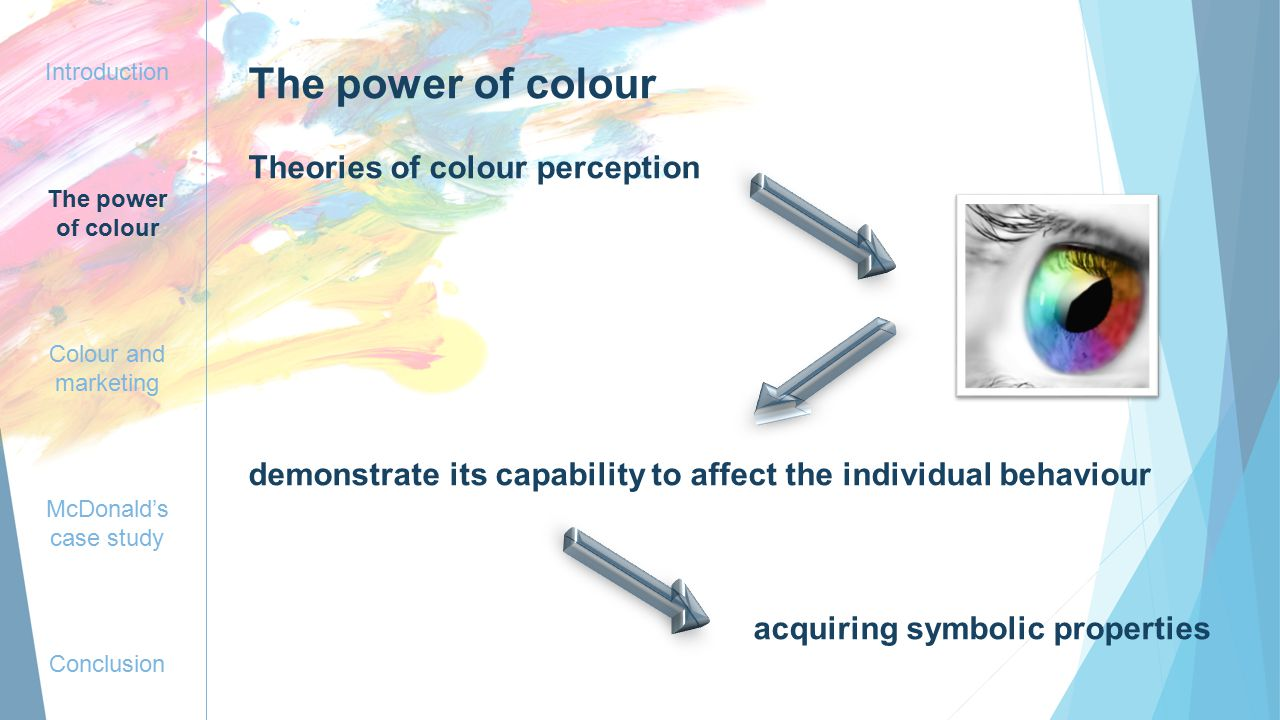Introduction The power of colour Colour and marketing McDonald's case study Conclusion The power of colour Theories of colour perception demonstrate its capability to affect the individual behaviour acquiring symbolic properties