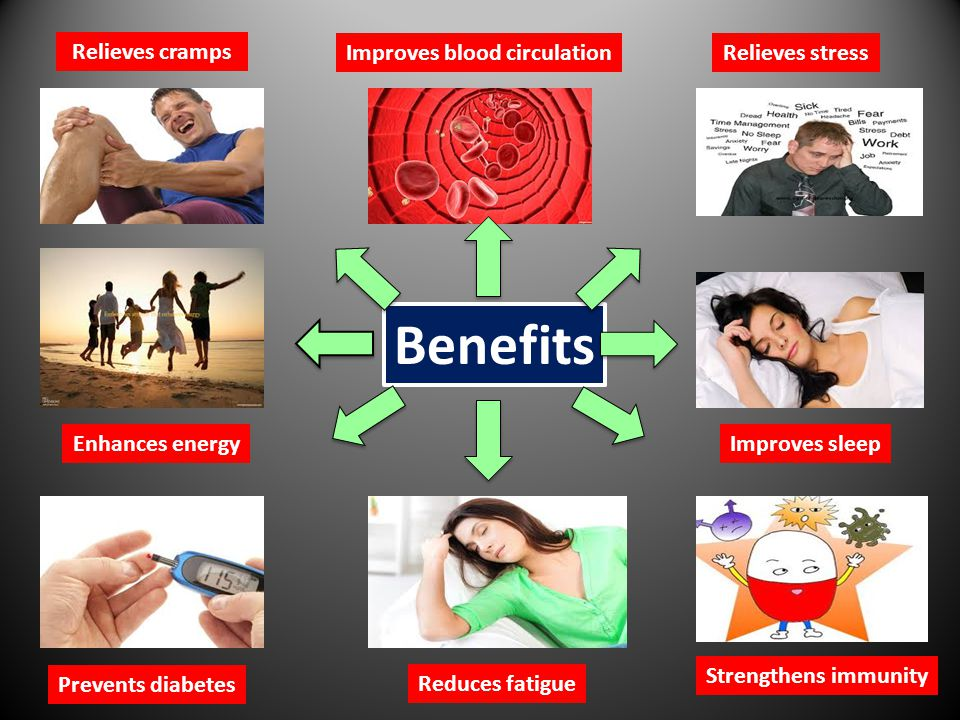 Benefits Improves blood circulationRelieves stress Enhances energy Prevents diabetes Improves sleep Strengthens immunity Reduces fatigue Relieves cramps