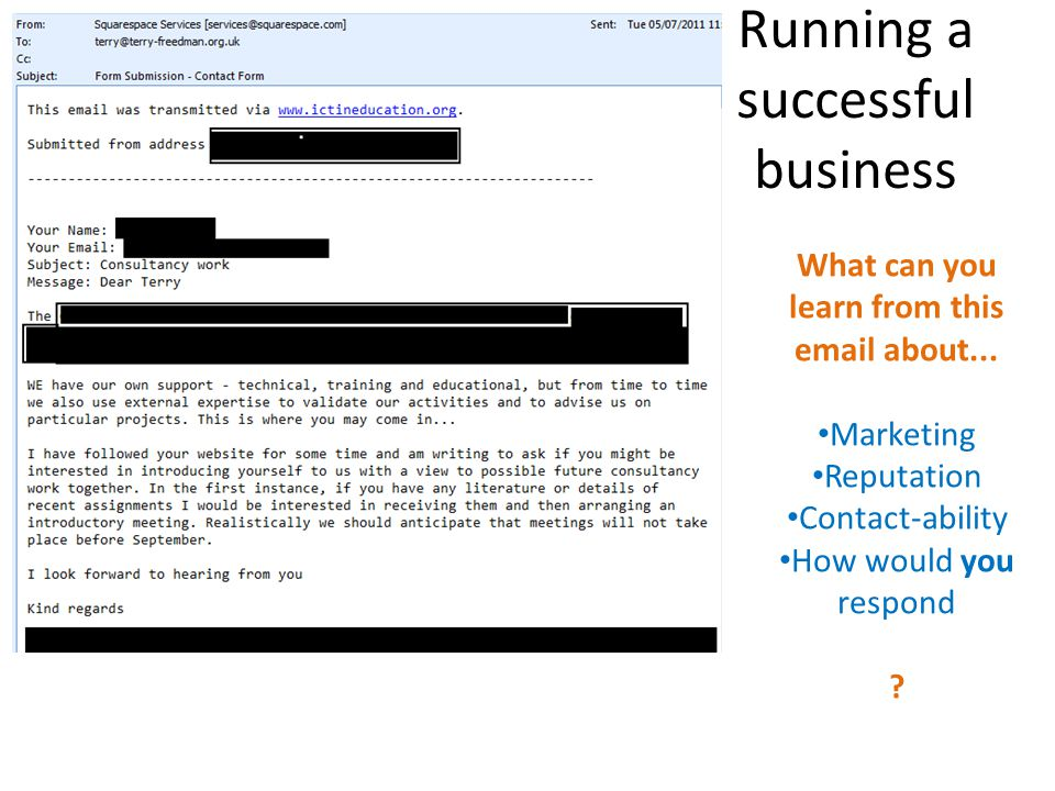 Running a successful business What can you learn from this email about... Marketing Reputation Contact-ability How would you respond ?