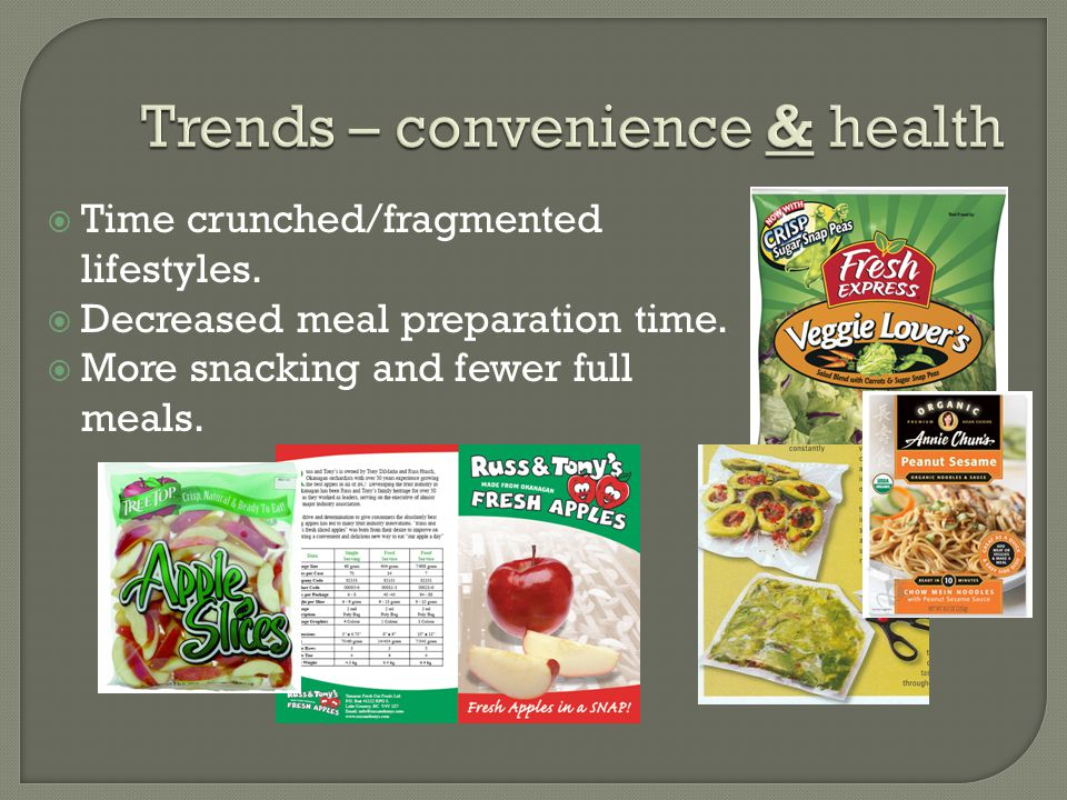  Individual well being Healthier foods Prevention  Cardiovascular health; cancer; anti-aging 70% of Canadians indicate  their intake of fruits and vegetables (AC Nielsen) Over half indicate  fat intake (AC Nielsen)