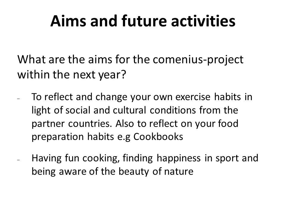 Aims and future activities What are the aims for the comenius-project within the next year.