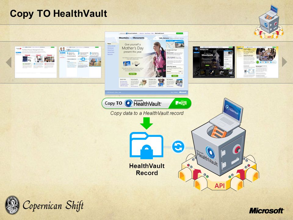 Copy TO HealthVault HealthVault Record Copy data to a HealthVault record