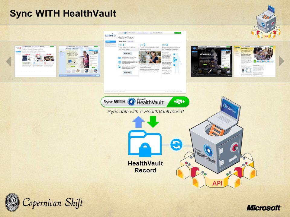 Sync WITH HealthVault Sync data with a HealthVault record HealthVault Record