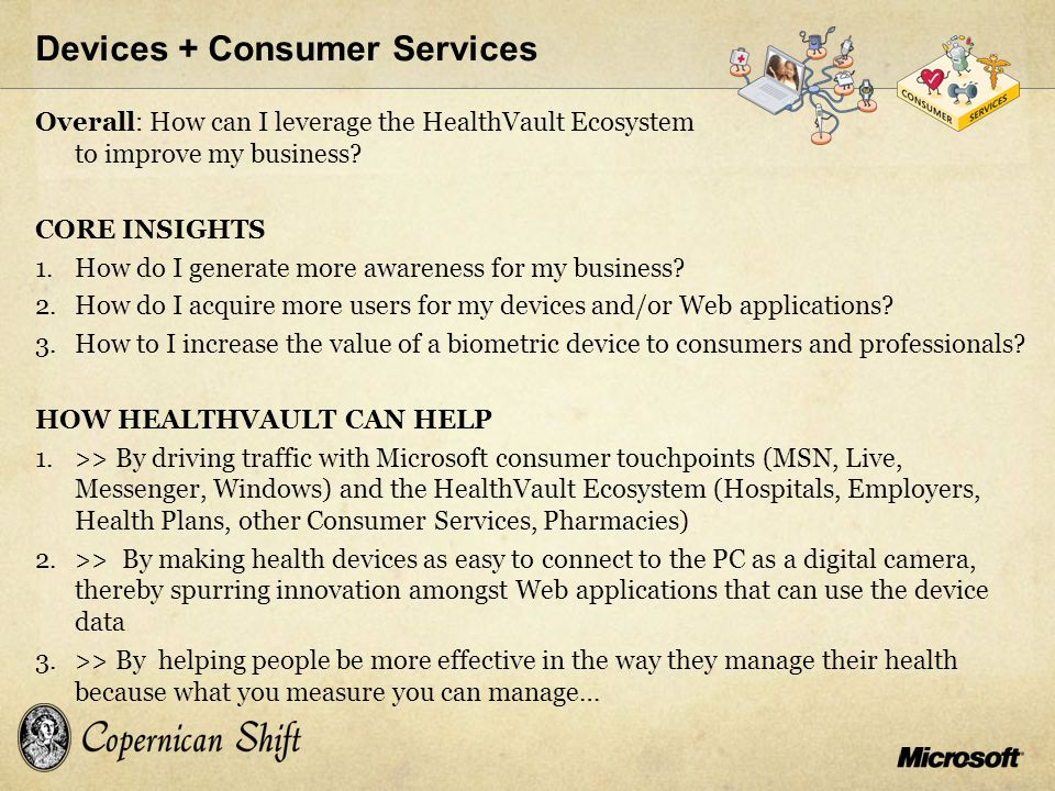 Overall: How can I leverage the HealthVault Ecosystem to improve my business? CORE INSIGHTS 1.How do I generate more awareness for my business? 2.How