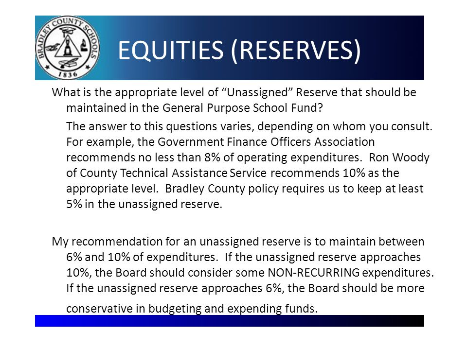 EQUITIES (RESERVES) What is the appropriate level of Unassigned Reserve that should be maintained in the General Purpose School Fund.