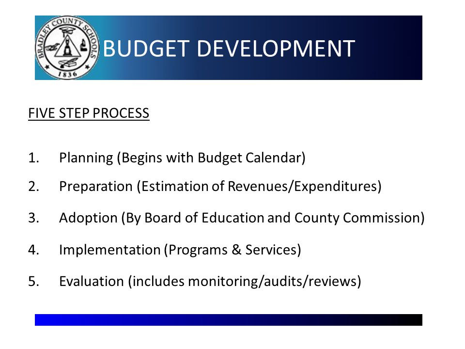 BUDGET DEVELOPMENT FIVE STEP PROCESS 1.Planning (Begins with Budget Calendar) 2.Preparation (Estimation of Revenues/Expenditures) 3.Adoption (By Board of Education and County Commission) 4.Implementation (Programs & Services) 5.Evaluation (includes monitoring/audits/reviews) 3