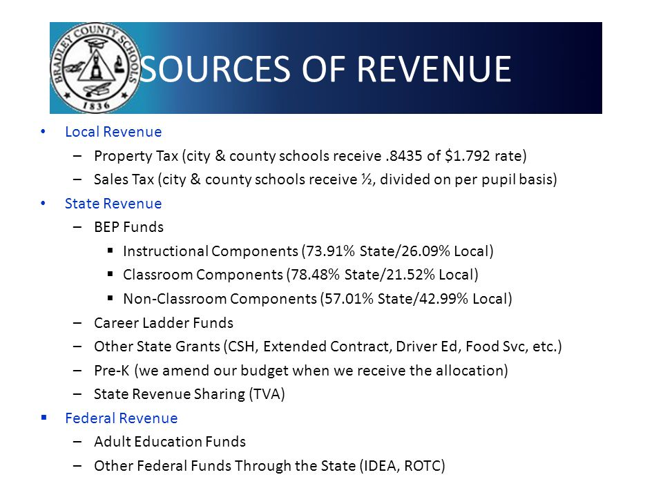 SOURCES OF REVENUE Local Revenue –Property Tax (city & county schools receive.8435 of $1.792 rate) –Sales Tax (city & county schools receive ½, divided on per pupil basis) State Revenue –BEP Funds  Instructional Components (73.91% State/26.09% Local)  Classroom Components (78.48% State/21.52% Local)  Non-Classroom Components (57.01% State/42.99% Local) –Career Ladder Funds –Other State Grants (CSH, Extended Contract, Driver Ed, Food Svc, etc.) –Pre-K (we amend our budget when we receive the allocation) –State Revenue Sharing (TVA)  Federal Revenue –Adult Education Funds –Other Federal Funds Through the State (IDEA, ROTC) 4