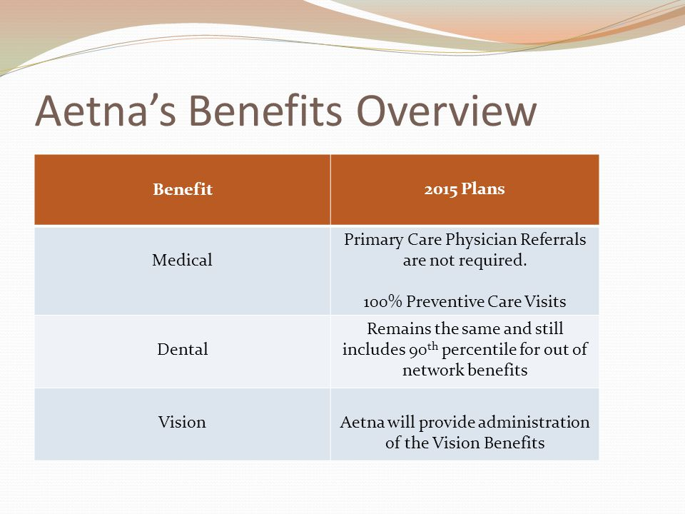 Aetna's Benefits Overview Benefit 2015 Plan Basic Life & AD&D, Supplemental Life and Long Term Disability Plan attributes remain unchanged, however Aetna will administrator the benefits.