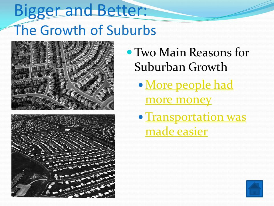 Bigger and Better: The Growth of Suburbs Two Main Reasons for Suburban Growth More people had more money More people had more money Transportation was made easier Transportation was made easier