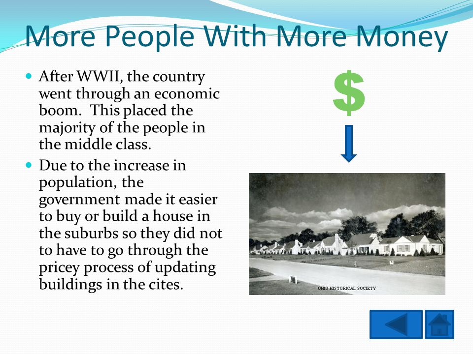 More People With More Money After WWII, the country went through an economic boom.