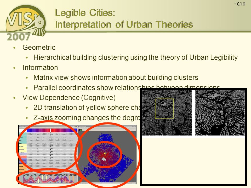 10/19 Legible Cities: Interpretation of Urban Theories Geometric Hierarchical building clustering using the theory of Urban Legibility Information Matrix view shows information about building clusters Parallel coordinates show relationships between dimensions View Dependence (Cognitive) 2D translation of yellow sphere changes the position of focus Z-axis zooming changes the degree of focus