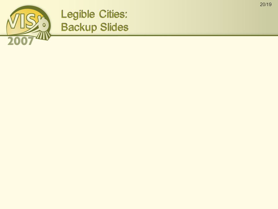 20/19 Legible Cities: Backup Slides