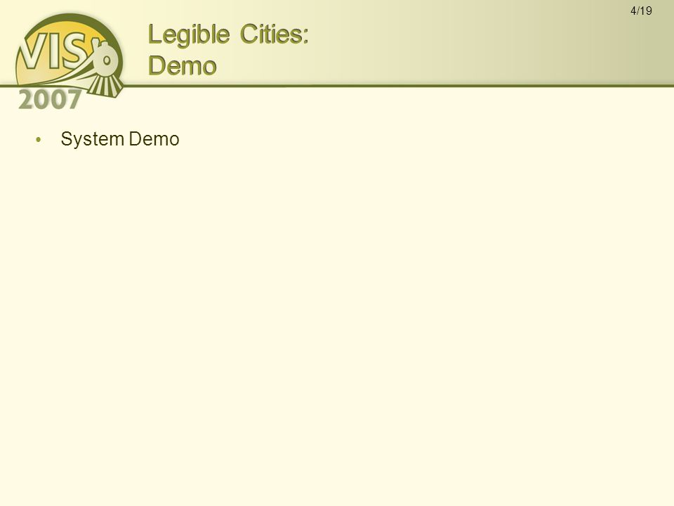 4/19 Legible Cities: Demo System Demo