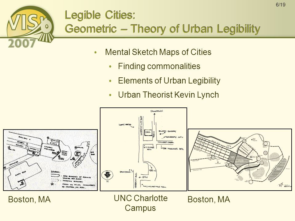 6/19 Legible Cities: Geometric – Theory of Urban Legibility Mental Sketch Maps of Cities Finding commonalities Elements of Urban Legibility Urban Theorist Kevin Lynch Boston, MA UNC Charlotte Campus Boston, MA