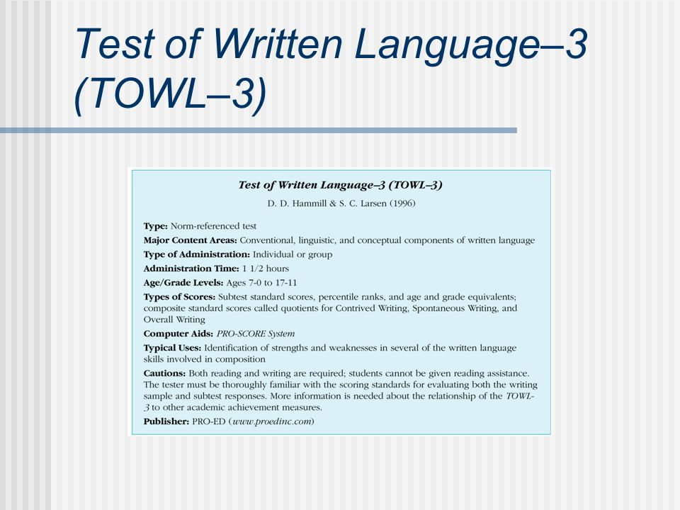 Test of Written Language–3 (TOWL–3)