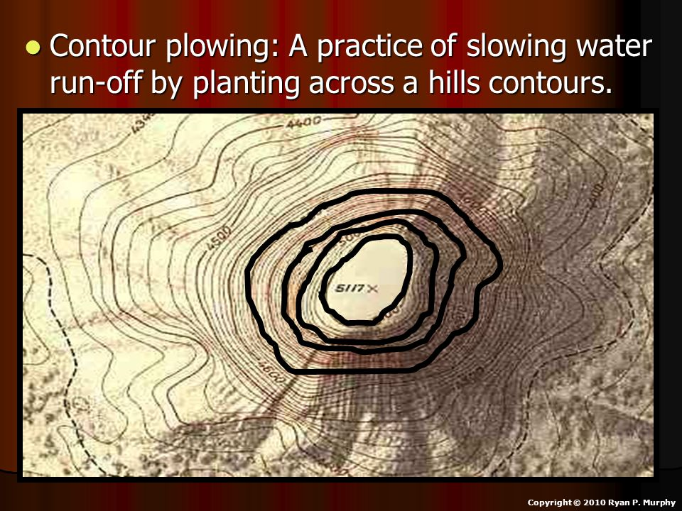 Contour plowing: A practice of slowing water run-off by planting across a hills contours.