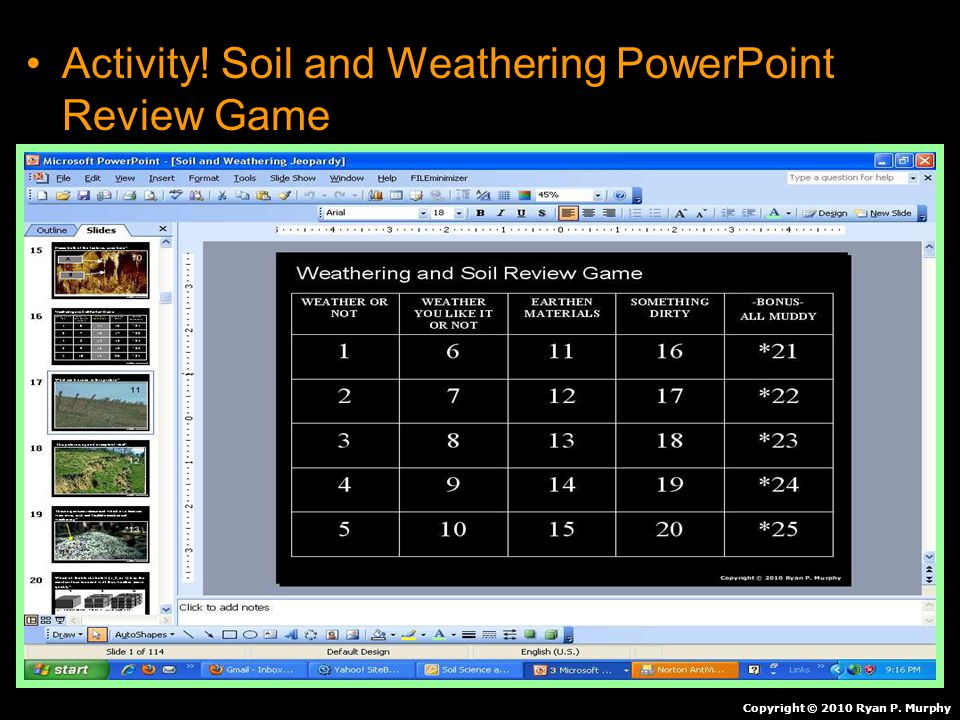 Activity! Soil and Weathering PowerPoint Review Game Copyright © 2010 Ryan P. Murphy