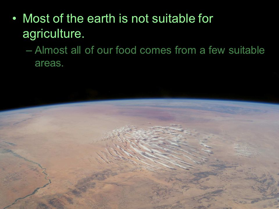 Most of the earth is not suitable for agriculture.