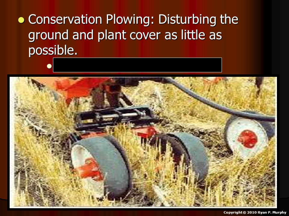 Conservation Plowing: Disturbing the ground and plant cover as little as possible.