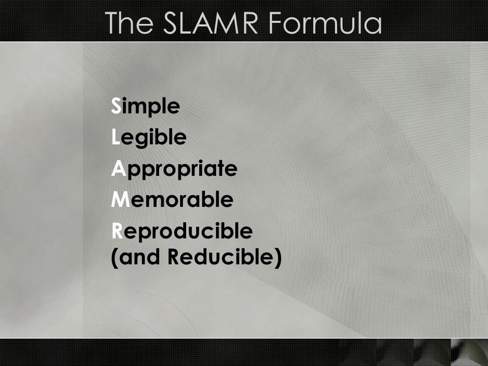 The SLAMR Formula Simple Legible Appropriate Memorable Reproducible (and Reducible)