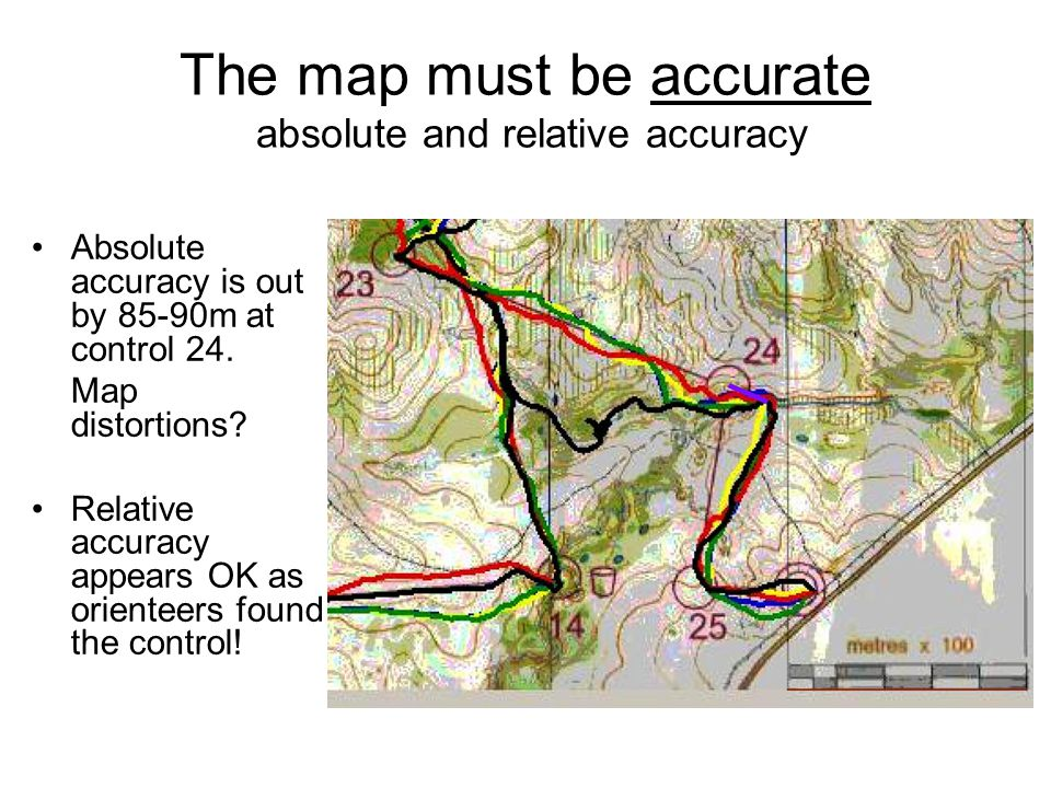 The map must be accurate absolute and relative accuracy Absolute accuracy is out by 85-90m at control 24.