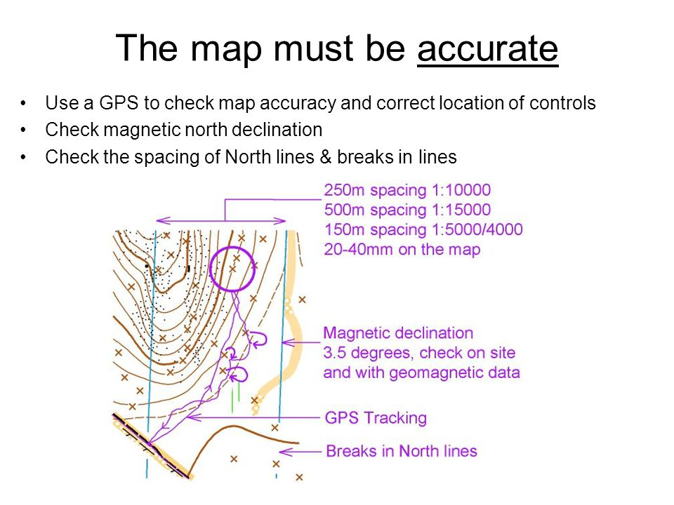 The map must be accurate Use a GPS to check map accuracy and correct location of controls Check magnetic north declination Check the spacing of North lines & breaks in lines