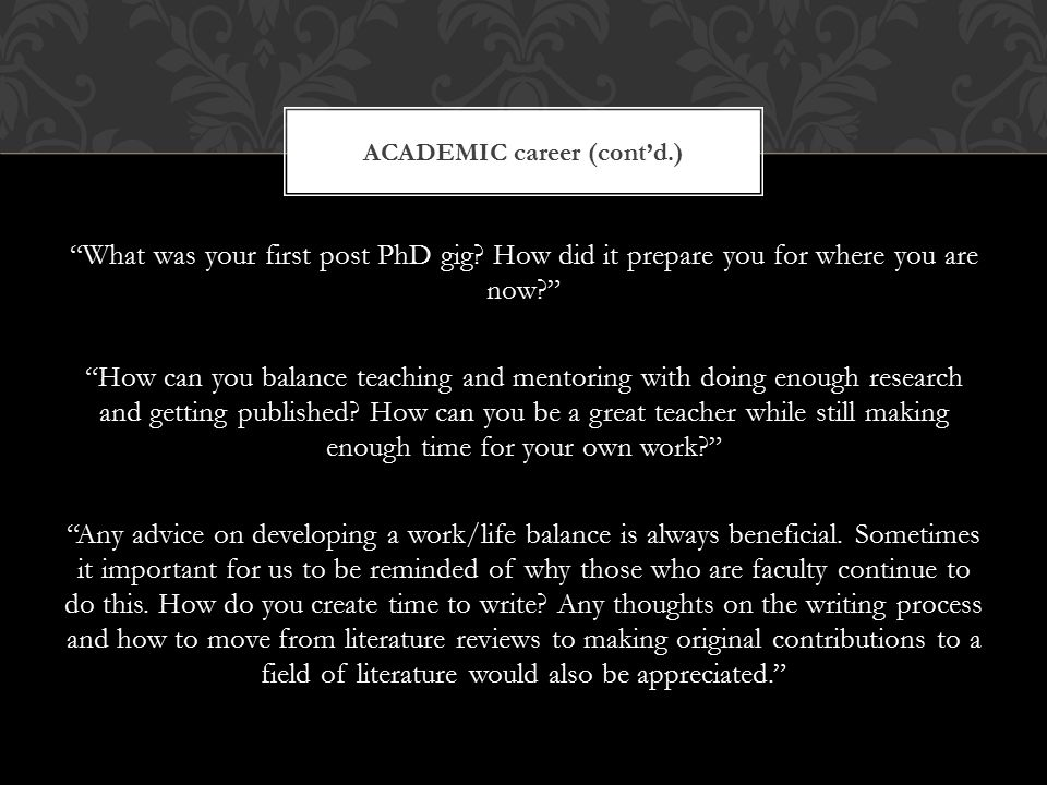 What was your first post PhD gig.