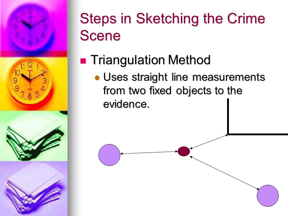 Steps in Sketching the Crime Scene Triangulation Method Triangulation Method Uses straight line measurements from two fixed objects to the evidence. U