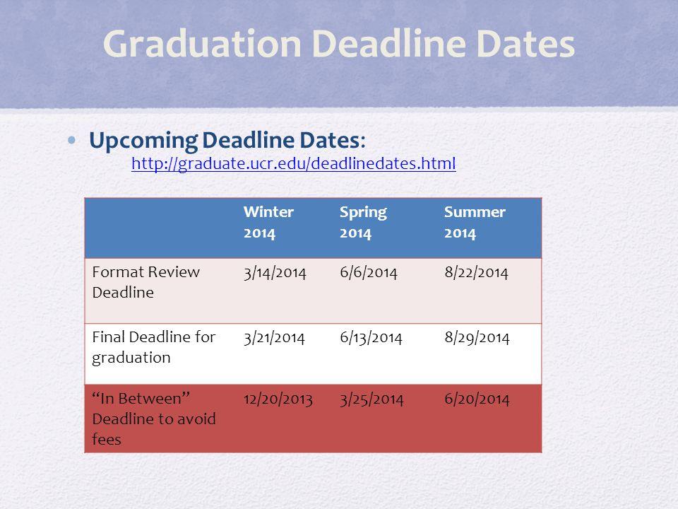 Graduation Deadline Dates Upcoming Deadline Dates: http://graduate.ucr.edu/deadlinedates.html http://graduate.ucr.edu/deadlinedates.html Winter 2014 S