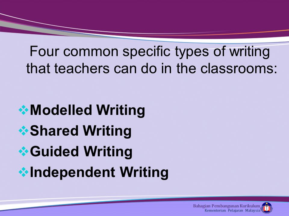 Four common specific types of writing that teachers can do in the classrooms:  Modelled Writing  Shared Writing  Guided Writing  Independent Writing
